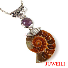 JUWEILI Jewelry 10pcs Natural Stone Beads Different Half Ammonite Conch Petrification Reiki Pendant Necklaces Women Men Amulet(China)