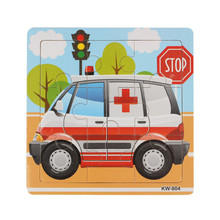 Ambulance Wooden Kids Children Jigsaw Education And Learning Puzzles Toys(China)