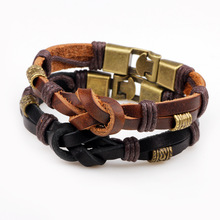 ER Vintage Genuine Leather Bracelet Men Black Braided Rope Knot Braslet Male Leather Wristband Copper Hand Accessories LB201