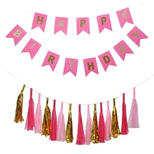 DIY Birthday Party Decorations Hanging Banners Gold Tissue Paper Tassel Letter Pull Flag Suit With Strip Party Decor