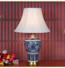 Art Chinese porcelain ceramic table lamp bedroom living room wedding table lamp Jingdezhen blue white porcelain table lamp(China)