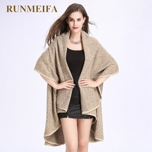 [RUNMEIFA]   2017 Brand new autumn and winter Small leopard double cloak shawl knitted cardigan shawl woman jacket