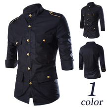 European and American gold epaulettes decoration, black minutes of sleeve cultivate one's morality men's shirts men's shirts