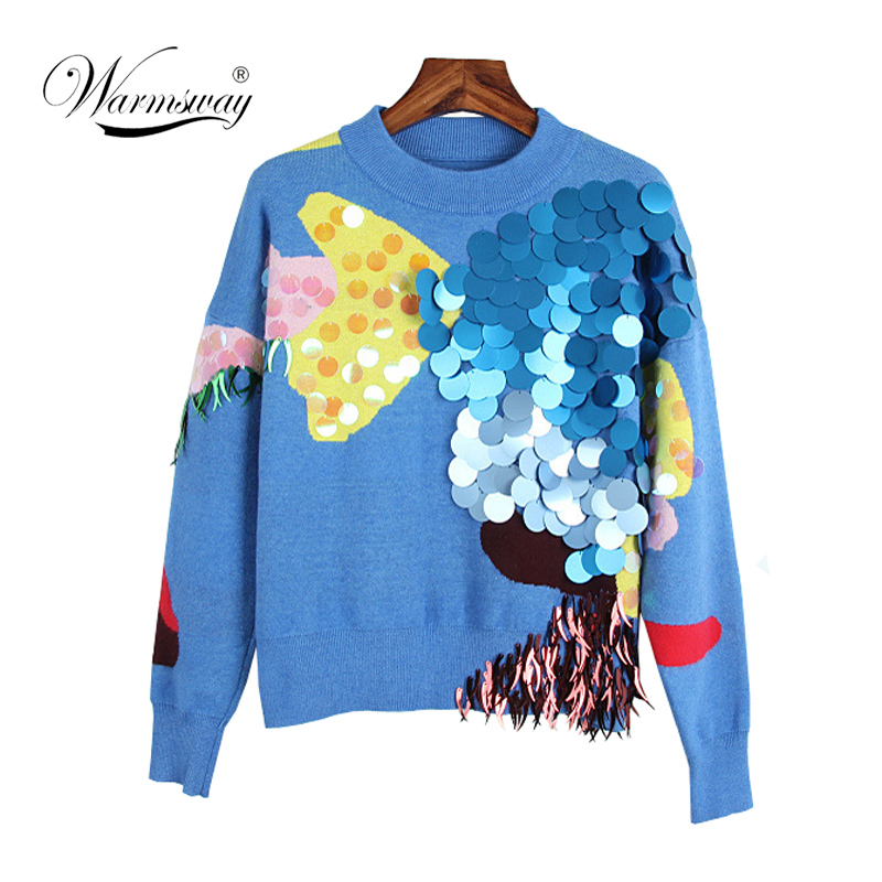 2018 Spring New Fashion Women Short Sweaters Full Sleeve O-Neck Sequined Blue Pullovers Computer Knitted Pageant C-017