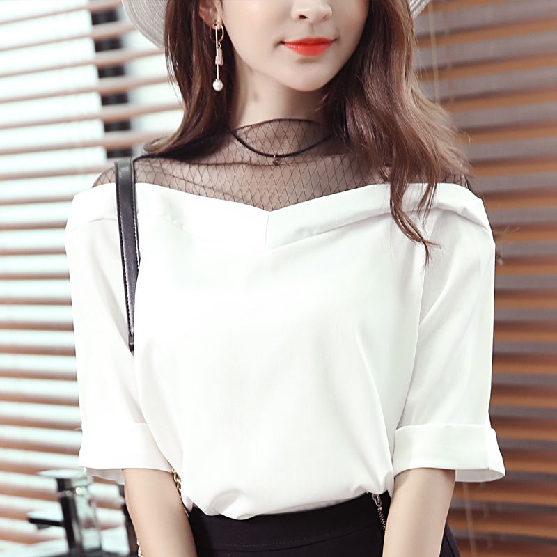 2017 Summer Women Shirts Loose Mesh Chiffon Hollow Out Provide A Small Video Bai Seling Blouse Shirt Brown White Pink 2670(China (Mainland))
