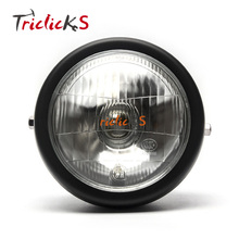 Triclicks Motorcycle Headlights Black Metal Retro Front Headlight Round Head Light For Bikes/Cruisers/Choppers/Bobber/Cafe Racer