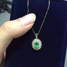 natural green emerald pendant S925 Sterling silver Natural gemstone Pendant Necklace Elegant Diana Round women girl gift jewelry