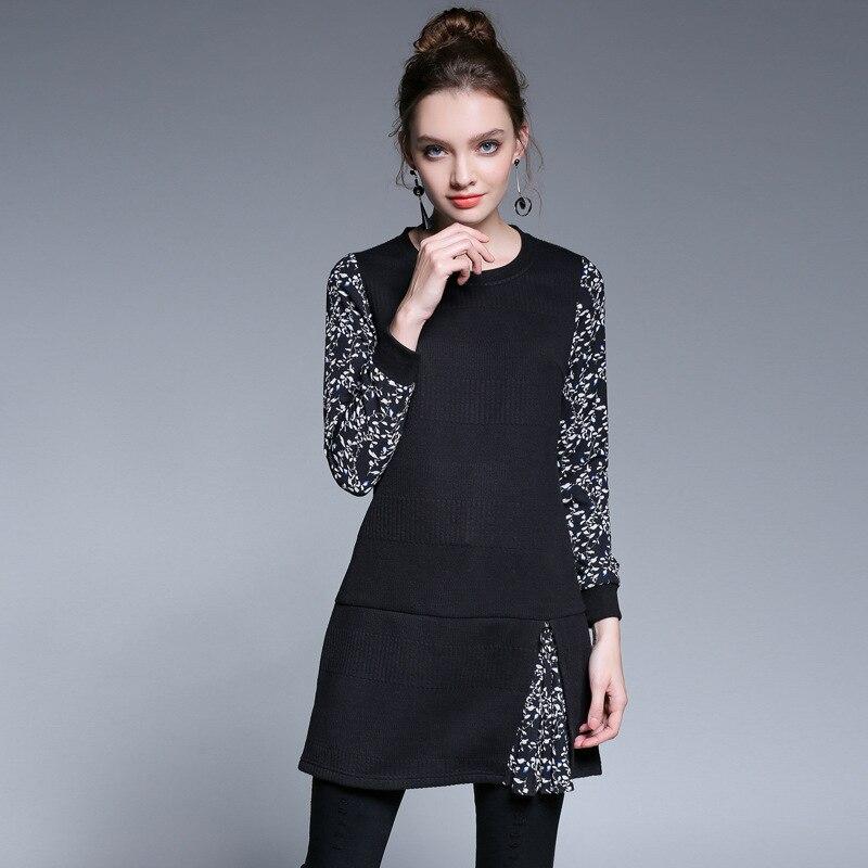 2017Winter Fashion Ladies elegant knitted dress floral printed patchwork cultivating casual vestidos plus size tunics L-5XL 5206Îäåæäà è àêñåññóàðû<br><br>