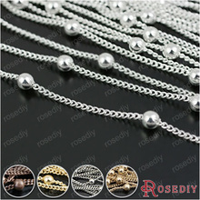 (28247)5 meters Chain width:1.2MM,bead:3MM Silver Color Copper Station Ball Chain Necklace Chains Jewelry Findings Accessories