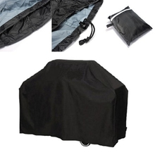 Black Waterproof BBQ Cover Outdoor Rain Barbecue Grill Protector For Gas Charcoal Electric Barbeque Grill(China)
