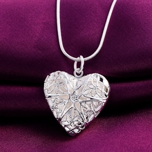 P185 Wholesale Free shipping elegant fashion silver plated jewelry charm women noble heart pendant necklace Kinsle(China)