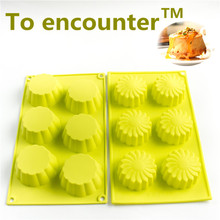 To encounter 2 pieces/set Six Cups Jelly Mould Silicone Flower Baking Cake Mold Muffin Cupcake Tray Cake Decorating Tools(China)