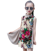 Chinese Style Kids Summer Cheongsam Girls Sleeveless Flower Printed Dresses Childen Kids Chinese Vest Dress