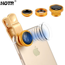 Universal Gold Wide Angle LENS, Fish Eye Camera Lens,Clear Macro Cell Phone Lens For Iphone 7 6 Plus 5s For Samsung S8 S7 edge