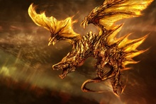 EX283 fire wings art dragon fantasy Room home wall art decor wood frame poster