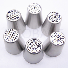 6PCS Nozzles Stainless Steel Russian Tulip Icing Piping Nozzle Fondant Cake Decorating Tip Sets Cake Tools