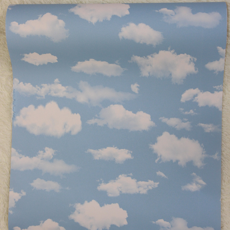 beibehang Blue sky white clouds wallpaper living room ceiling PVC works non - self - adhesive top wallpaper papier peint <br>