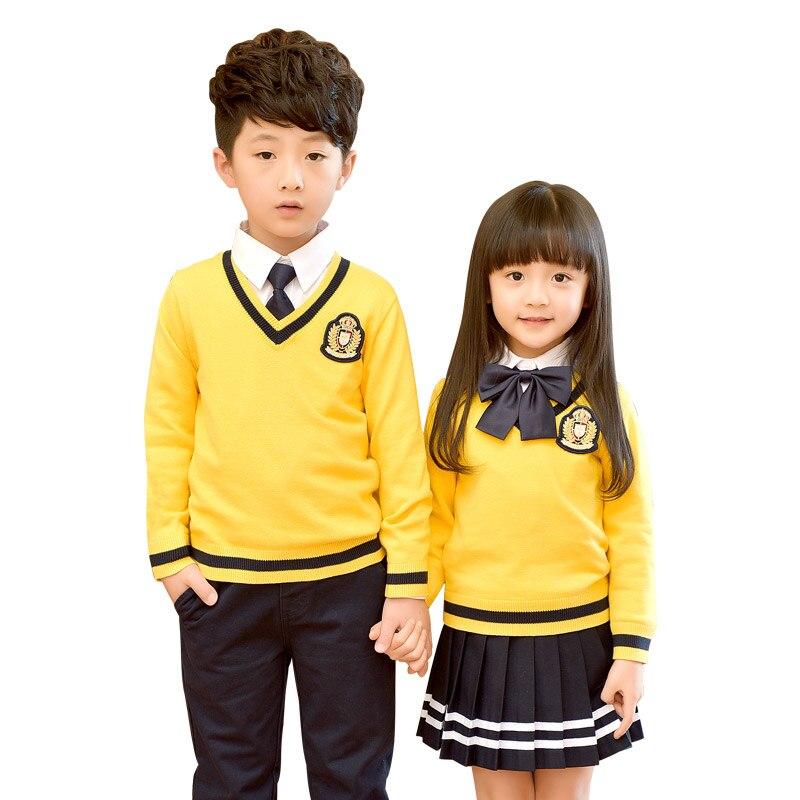 Children Uniform Cotton Fashion Student School Uniforms Girls Boys Sweater Shirts Skirt Long Pants Tie Set Uniforms 2-10T<br>