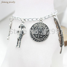 Free Shipping Harry Jewellery Silver Plated Charm Bead Bracelet with 4x Potter Charms Available in 4 Sizes For Christmas Gifts(China)