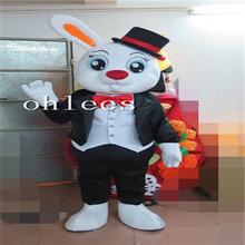 Ohlees one ear bunny Mascot Costume Halloween Christmas party Props Costumes For Adult cartoon animal customize