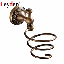 Leyden Antique Brass/ ORB Holder for Hair Dryer Holder Rack Wall Mounted Copper Spiral Hair Dryer Holder Bathroom Accessories(China)
