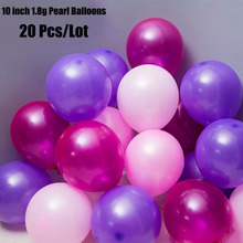 20pcs/Lot 10Inch Pink/Purple/Fuchsia Mixed Latex 1.8g Pearl Balloons Birthday Wedding Bridal Baby Shower Party Decoration