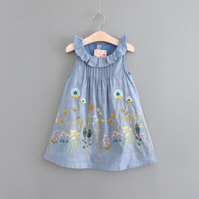 2017 girls clothes kids dress embroidery children summer peter pan collar sleeveless print dress flower Vestido infantil Trolls<br>