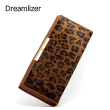 3 Fold 100% Genuine Leather With Animal Hair Designer Women Long Wallet Leopard Pattern Carteras Female Clutch Coin Purse Wallet
