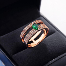 Top Quality New Luxury Micro Mosaic Premium AAA+Zircon and Oval Green CZ Stones Double Layer Circles Ring for Women(China)