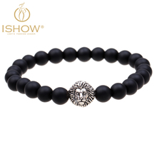 Fashion natural stone Matte bracelet cuir homme bijoux homme new style lion bracelets man friendship bracelets jewelry