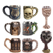 Personality Stainless Steel Coffee Mugs 3D Skull Mugs Wolf Knight Tankard Dragon Cups and Mugs Monster Goblet Unique Drinkware