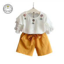 New Children's Clothing Set Soft Chiffon Casual Style Puff Sleeve Flowers T-shirt & Solid Color Bow Pants for Girl Set(China)