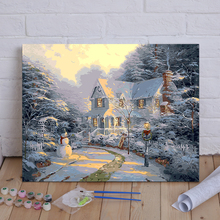 Framed painting by number wall paiting picture oil painting for living room 4050 night before christmas(China)