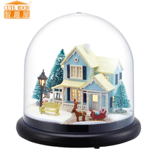 Furniture DIY Doll House Wodden Miniatura Doll Houses Furniture Kit Glass Cover Assemble Dollhouse Toys For Children gift B25(China)