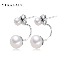 YIKALAISI 2017 NEW Natural Pearl jewelry Earrings For Women 925 Sterling Silver Jewelry Oblate Double Pearl Earrings Wedding(China)