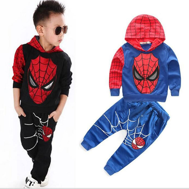 Spiderman boy clothing set pullover Christmas boys clothes fashion hooded coat+pant 2-piece set fleece warm for winter<br><br>Aliexpress