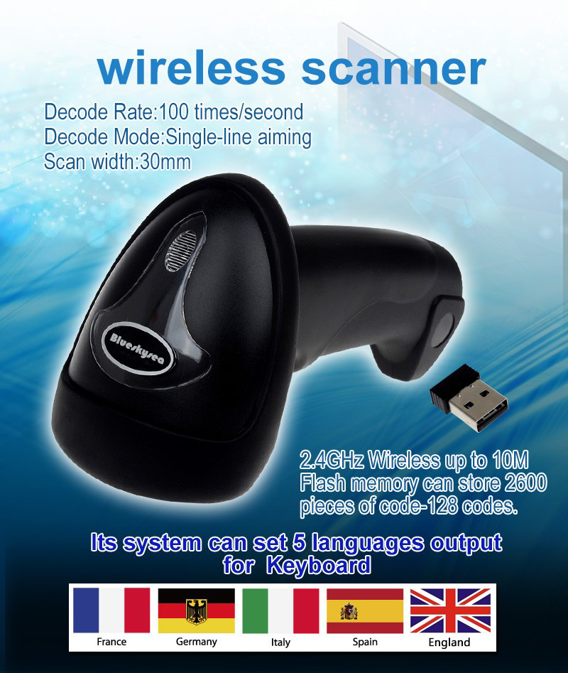 Free Shipping!Blueskysea Wireless Barcode Scanner bar Code Reader 2.4G 10m Laser Barcode Scanner Wireless/Wired For Windows CE<br>