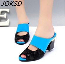 JOKSD new women sandals genuine leather rhinestone thick high-heeled color block decoration open toe women sandals xy192