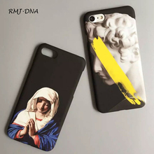 David Bless Virgin Mary pattern Bumper Phone Case For Iphone 6 6s More 6 6 s 7 7 Plus Hard plastic Frost Phone Back Cover Coke(China)