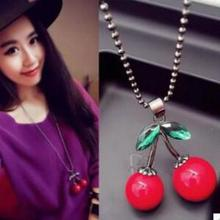 The New Fashion Wild Red Cherry Large Crystal Sweater Chain, Long Necklace Accesories Women Red Imitation Gemstone Jewelry