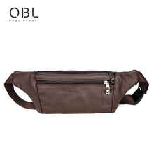 QiBoLu Cow Genuine Leather Men Waist Pack Fanny Pack Bum Bag Man Pouch Travel Cash Card Pochete Bolso Cintura Homme Borsa MBA20