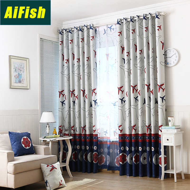 Cartoon Airplane Football Print Blackout Curtains for Children Bedroom Customized Sheer Voile Curtain Drapery for Boys Room 3343