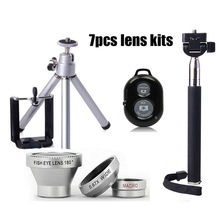7in1 Kit Phone Camera Lenses 3in1 Fish Eye Wide Angle Macro Lens+Clips Selfie Stick Monopod Mini Tripod Bluetooth Remote control(China)