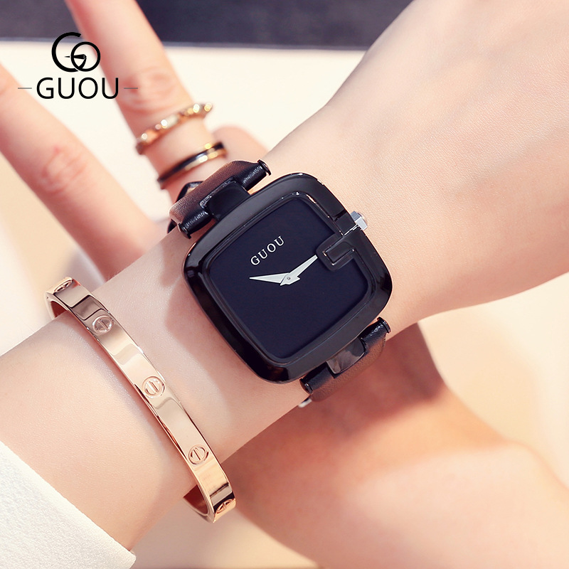 GUOU Brand Ultra Thin Luxury Simple Watch Fashion Womens Hours Ladies Leather Wristwatch Female Square Dress Clock 8190<br>