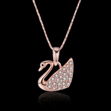 Ladies fashion jewelry. Rose animal pendant zircon necklace .925 sterling silver lady N599