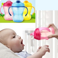 260ml Updated Durable Baby Kids Straw Cup Drinking Bottle Sippy Cups With handles Cute Design Feeding Bottle PP Plastic SGS(China)