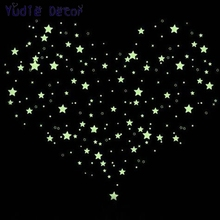 100Pcs Kids Bedroom Energy Storage Fluorescent Glow In The Dark Stars Wall Stickers Baby Rooms Sticker Home Decoration Free Glue