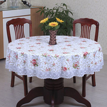 Free shipping PVC pastoral round table cloth waterproof Oilproof non wash plastic pad plus velvet anti hot coffee tablecloth