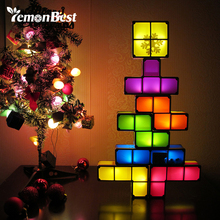 DIY Constructible Night Light Desk Lamp Creative Constructible Retro Game Style Three-dimensional Stackable LED Light(China)