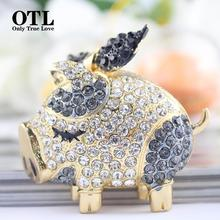 Fashion Novelty Cute Bow Pig Keychain Charm Crystals Bag Pendant Key Ring Holder Souvenir Trinket Gift Rhinestone